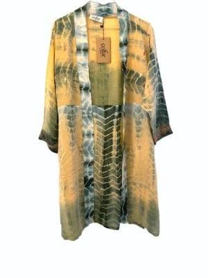 Vintage sarisilk short kimono Nude embrodery dipdye Onesize