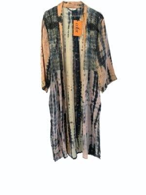 Vintage sarisilk Long kimono soft dipdye Grey/nude Mix