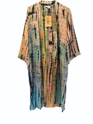 Vintage sarisilk Long kimono soft dipdye Pastel Checks