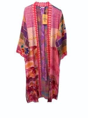 Vintage sarisilk Long kimono Pink/Lavender Mix