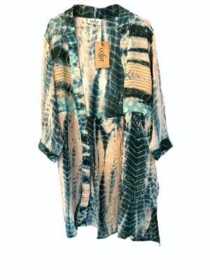 Vintage sarisilk short kimono pastels dipdye mix Onesize