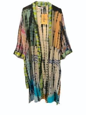 Vintage sarisilk Long kimono soft dipdye Multi Mix