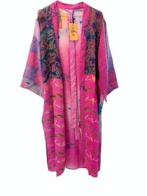 Vintage sarisilk Long kimono  Pink/ Purple mix Onesize