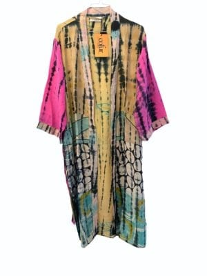Vintage sarisilk Long kimono Multi soft dipdye Pink sl.