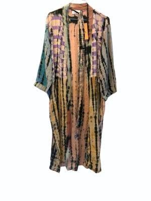 Vintage sarisilk Long kimono soft dipdye Pastels Multi lavender