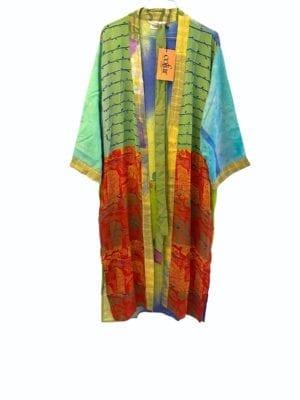 Vintage sarisilk Long kimono All colors mix