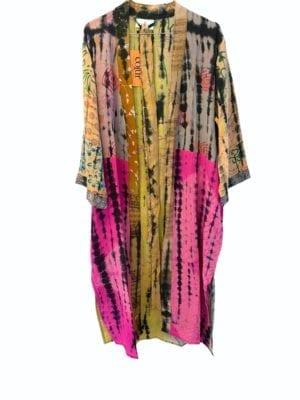 Vintage sarisilk Long kimono soft dipdye Pastels Multi