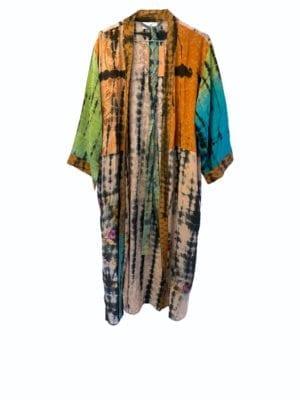 Vintage sarisilk Long kimono soft dipdye Multi Palliet
