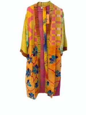 Vintage sarisilk Long kimono  Pink/Yellow mix Onesize