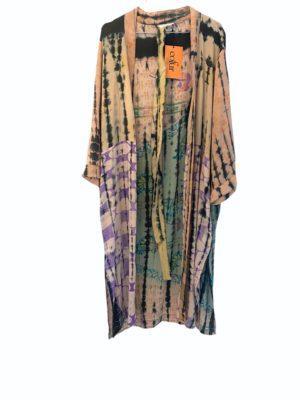 Vintage sarisilk Long kimono soft dipdye Pastels