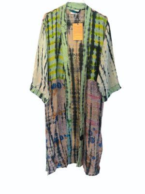 Vintage sarisilk Long kimono soft dipdye Green multi