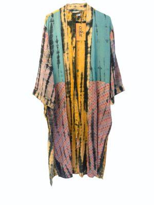 Vintage sarisilk Long kimono soft dipdye pastel embrodery mix