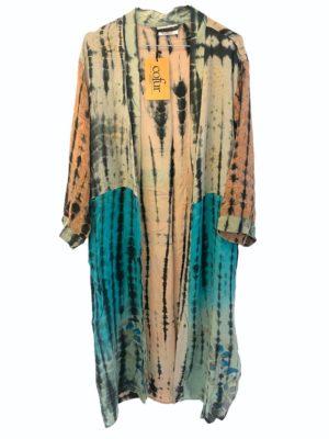Vintage sarisilk Long kimono soft dipdye Aqua/nude mix
