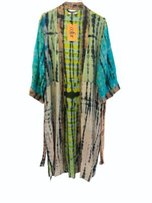 Vintage sarisilk Long kimono soft dipdye Aqua mix