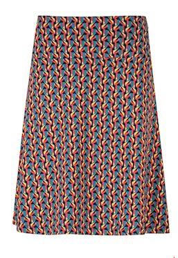 Skirt A-line Graphic Petrol