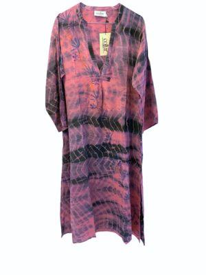 Vintage sarisilk Goa maxidress soft Purple dipdye M/L