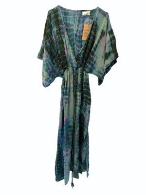 Vintage sarisilk Bali maxidress Aqua/lavender dipdye M/L