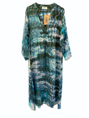 Vintage sarisilk Goa maxidress Full moon dipdye M/L