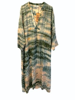 Vintage sarisilk Goa maxidress soft Pastels dipdye M/L