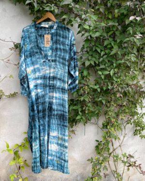 Vintage sarisilk Goa maxidress Blue Havgus dipdye XL