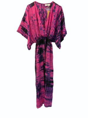 Vintage sarisilk Bali maxidress Pink dipdye M/L