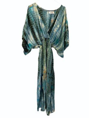Vintage sarisilk Bali maxidress Aqua dipdye M/L