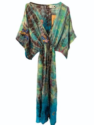 Vintage sarisilk Bali maxidress Multi embrodery dipdye S/M