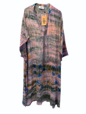 Vintage sarisilk Goa maxidress Lavender dipdye M/L