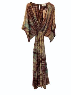 Vintage sarisilk Bali maxidress Aubergine dipdye M/L