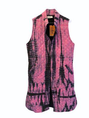 Vintage sarisilk Quilt Vest pink dip dye S/M