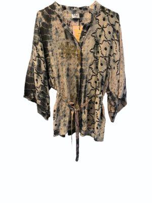 Kimono shirt sarisilk Grey Dip Dye S/M