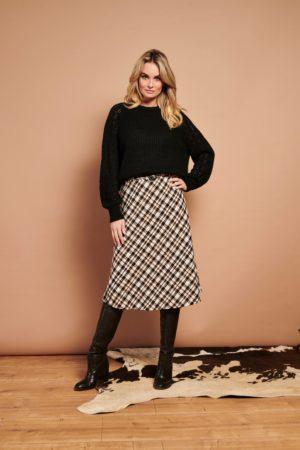 A-Line skirt black/white checks