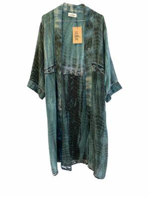 Vintage sarisilk Long kimono dip dye lace petrol