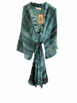 Vintage sarisilk short Dubai kimono Ocean Dip dye Onesize