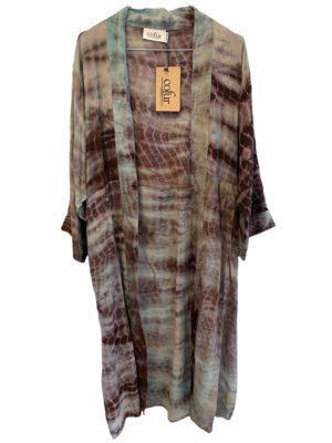 Vintage sarisilk Long kimono dip dye aubergine/mint