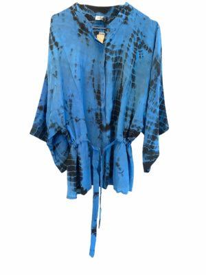 Kimono shirt sarisilk Blue Dip Dye M/L