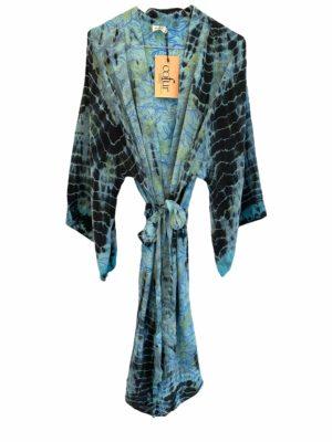 Vintage sarisilk short Dubai kimono Aqua Dip dye Onesize