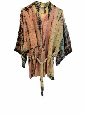 Kimono shirt sarisilk pastels Dip Dye M/L