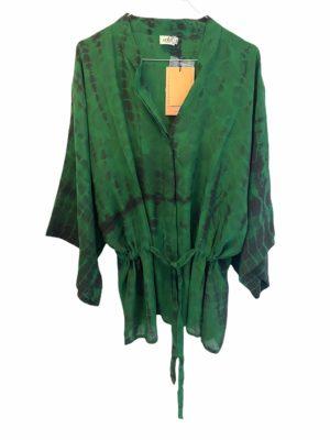 Kimono shirt sarisilk Green Dip Dye M/L