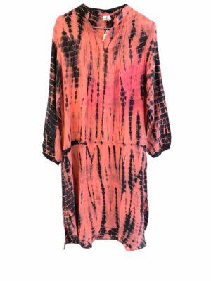 Vintage sarisilk City shirtdress Coral Dip dye S/M