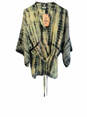 Kimono shirt sarisilk lime Dip Dye S/M