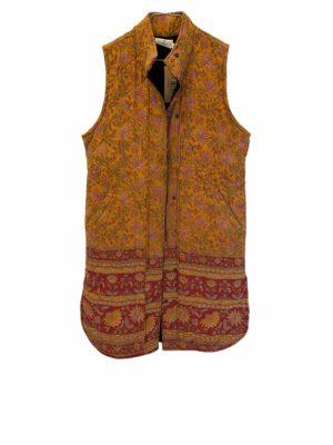 Vintage sarisilk Quilt Vest yellow Floral M/L