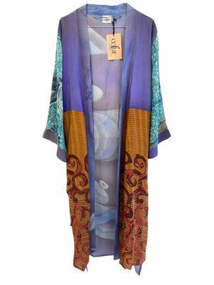 Vintage sarisilk Long kimono purple mix