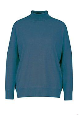 Wool/Cotton Sweater wide Petrol