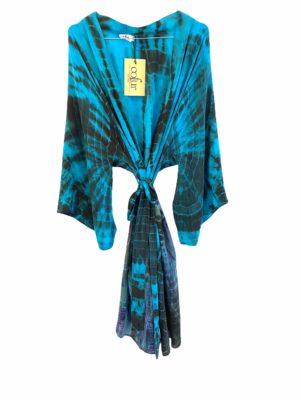 Vintage sarisilk short Dubai kimono Turkis Dip dye Onesize