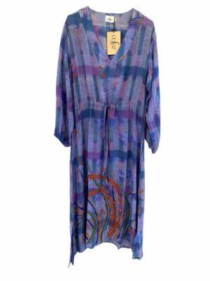 Vintage sarisilk maxidress Lavender M/L
