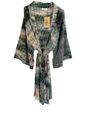 Vintage sarisilk short Dubai kimono Havgus Dip dye Onesize