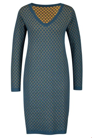 V-neck Knit Dress petrol
