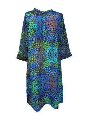 Jennifer dress silk Blue multi dot