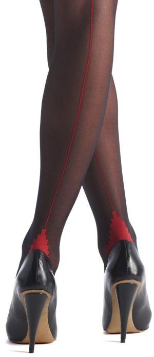 Oroblu Riga Back seam Tights Black/Red 20 Den